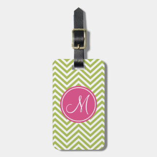 Pink & Green Chevron Pattern with Monogram Luggage Tag