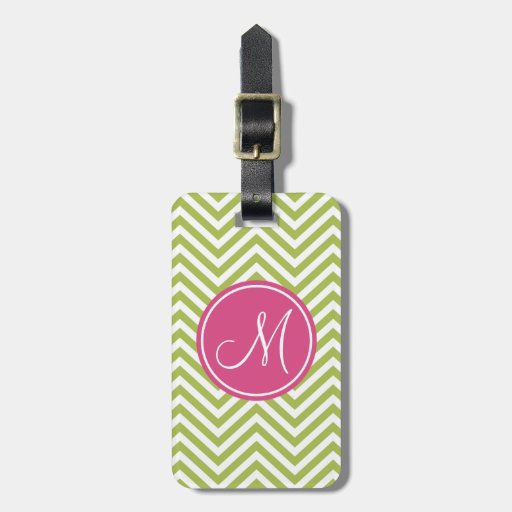 Pink & Green Chevron Pattern with Monogram Tag For Luggage