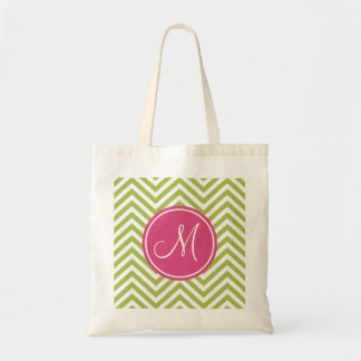 Pink & Green Chevron Pattern with Monogram Tote Bag