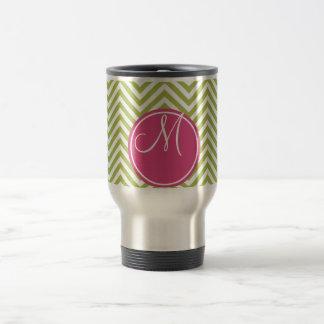 Pink & Green Chevron Pattern with Monogram Travel Mug