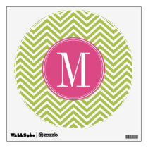 Pink & Green Chevron Pattern with Monogram Wall Decal