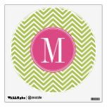 Pink & Green Chevron Pattern with Monogram Wall Graphic