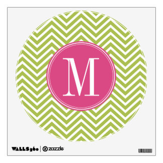 Pink & Green Chevron Pattern with Monogram Room Graphic