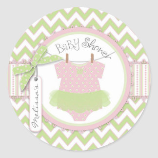 Pink Green Chevron Print Sweet Tutu Round Sticker