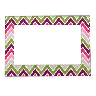 Pink & Green Chevron Stripe Magnetic Frame