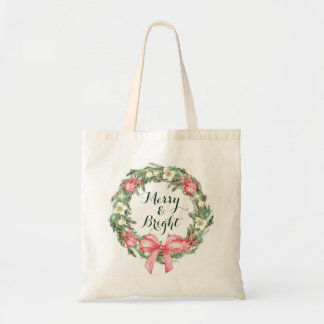 Pink Green Christmas holiday wreath merry & bright Tote Bag