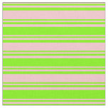 [ Thumbnail: Pink & Green Colored Striped/Lined Pattern Fabric ]