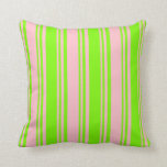 [ Thumbnail: Pink & Green Colored Striped/Lined Pattern Pillow ]