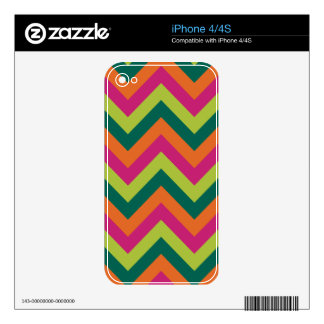 Pink Green Colors Modern Chevron Geometric Pattern iPhone 4S Decals
