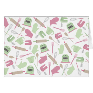 Pink & Green Cooking Themed Notecard
