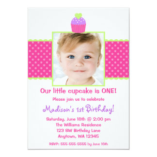 Pink Green Cupcake 1st Birthday Girl Photo Card