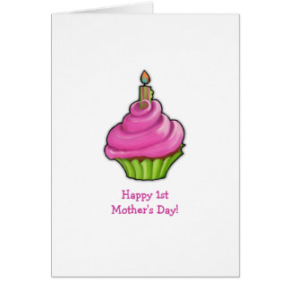 Pink & Green Cupcake 1st Mother's Day Card