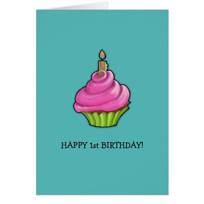 Pink & Green Cupcake aqua 1st Birthday Card