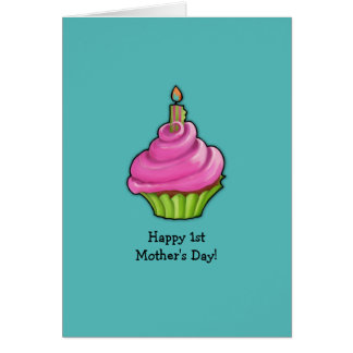 Pink & Green Cupcake aqua 1st Mother's Day Card