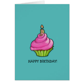 Pink & Green Cupcake aqua Birthday Card