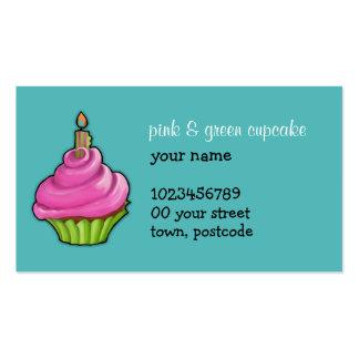 Pink & Green Cupcake aqua Business Card