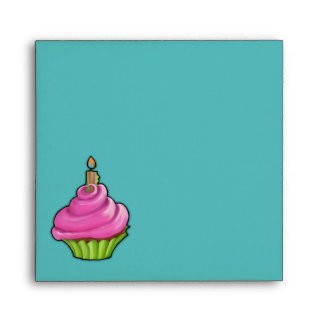 Pink & Green Cupcake aqua Invitation Envelope