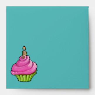 Pink & Green Cupcake aqua Invitation Envelope