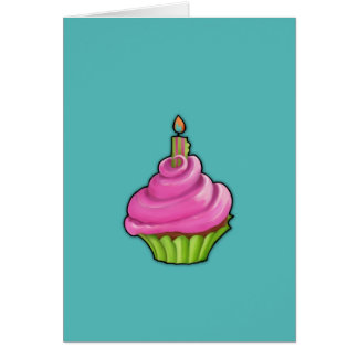 Pink & Green Cupcake aqua Note Card