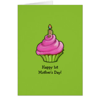 Pink & Green Cupcake green 1st Mother's Day Card