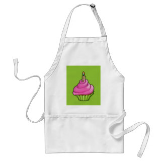 Pink & Green Cupcake green Adult Apron