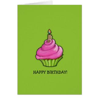 Pink & Green Cupcake green Birthday Card