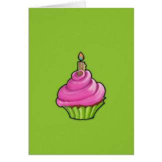 Pink & Green Cupcake green Note Card