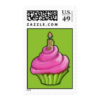 Pink & Green Cupcake green Stamp