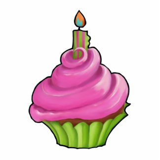 Pink & Green Cupcake Party Cake Topper Statuette