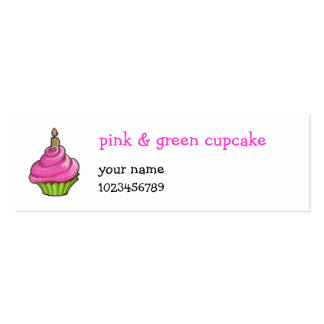 Pink & Green Cupcake small Double-Sided Mini Business Cards (Pack Of 20)