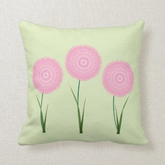 Pink Green Cute Blooming Flowers Pillow Cushions