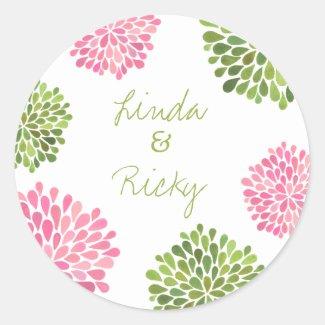 Pink & Green Dahlia Wedding Round Sticker Seal