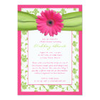 Pink Green Daisy Damask Bridal Shower Invitation