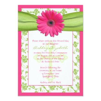Pink Green Daisy Damask First Communion Invitation