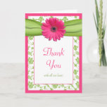Pink Green Daisy Floral Wedding Thank You Card
