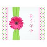 Pink Green Daisy Polka Dot Bat Mitzvah RSVP Card