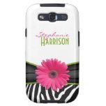 Pink Green Daisy Zebra Print Galaxy S III Galaxy SIII Cases