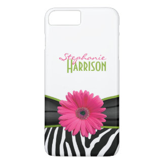 Pink Green Daisy Zebra Print Personalized iPhone 7 Plus Case