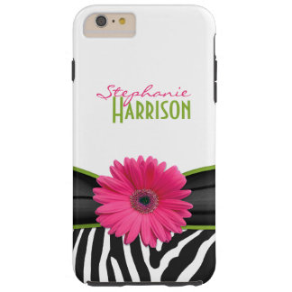 Pink Green Daisy Zebra Print Personalized Tough iPhone 6 Plus Case