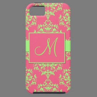 Pink & Green Damask Monogram iPhone 5 Case