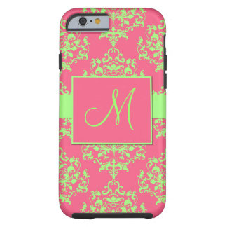 Pink & Green Damask Monogram iPhone 6 case