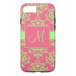 Pink & Green Damask Monogram iPhone 7 case