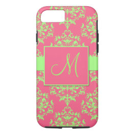 Pink & Green Damask Monogram iPhone 7 case