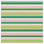 [ Thumbnail: Pink, Green, Dark Cyan, Dark Green & Mint Cream Fabric ]