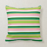 [ Thumbnail: Pink, Green, Dark Cyan, Dark Green & Mint Cream Throw Pillow ]