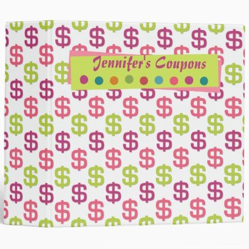 Pink green dollar signs 2 coupon organizer binder