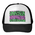Pink Green doodle shapes on black background Mesh Hats
