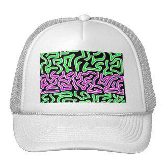 Pink Green doodle shapes on black background Trucker Hat