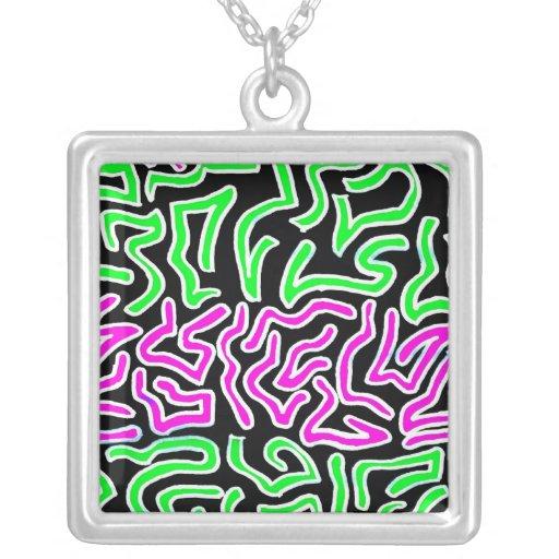 Pink Green doodle shapes on black background Square Pendant Necklace