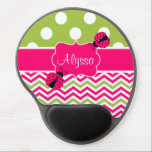 "Pink Green Dots Chevron Ladybut Personalized Gel Mouse Pad<br><div class=""desc"">Show off your personal style in  a fun way with this pink and lime green chevron and polka dots personalized ladybug mouse pad.</div>"